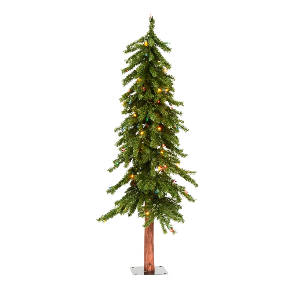 4 Foot Natural Alpine Artificial Christmas Tree - 100 DuraLit LED Warm White Mini Lights