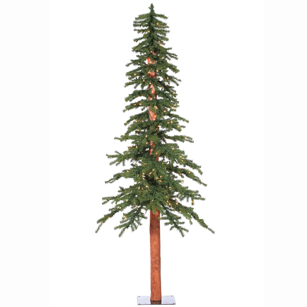 7 Foot Natural Alpine Artificial Christmas Tree - 300 DuraLit LED Warm White Mini Lights