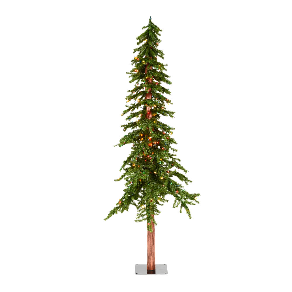 7 Foot Natural Alpine Artificial Christmas Tree - 300 DuraLit LED Multi-Colored Mini Lights