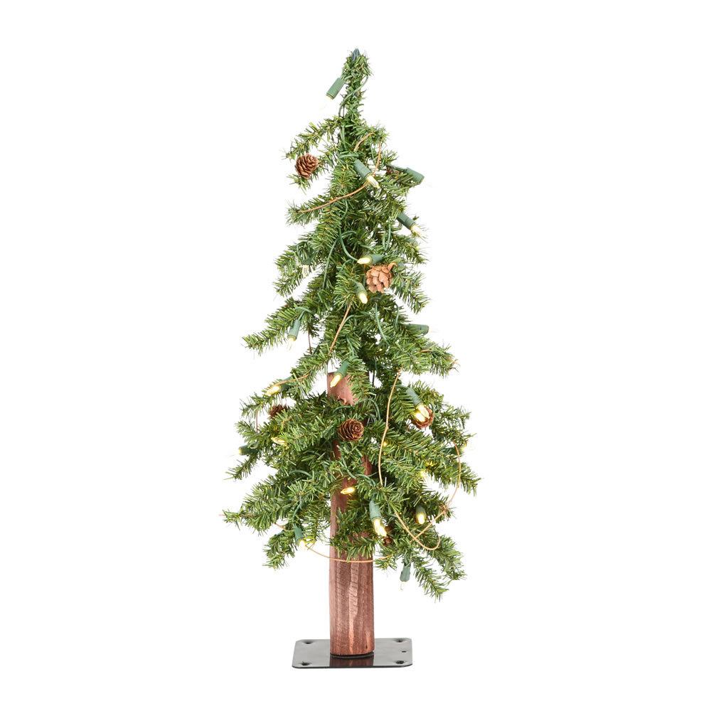 2 Foot Alpine Artificial Christmas Tree 50 DuraLit LED Warm White Lights