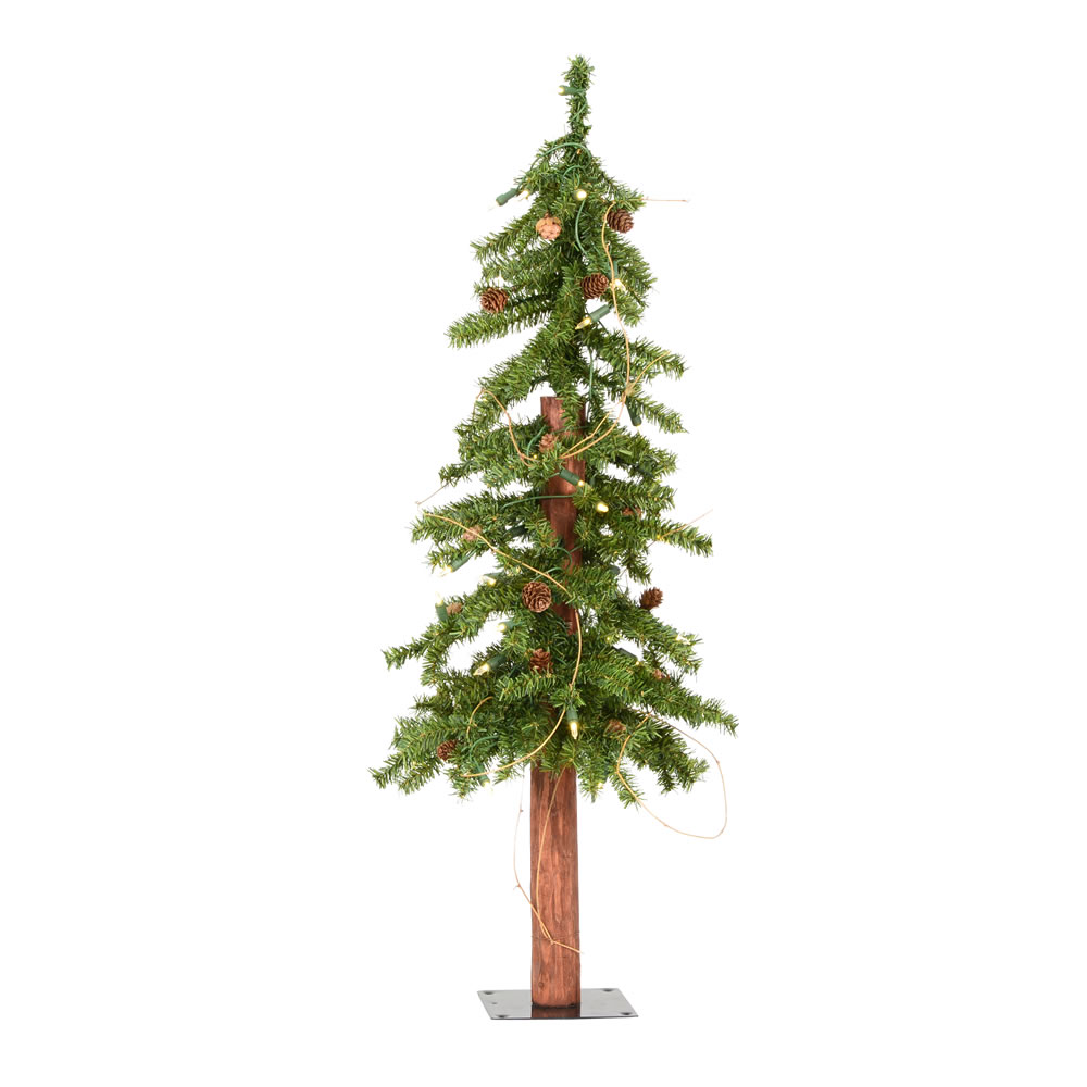 3 Foot Alpine Artificial Christmas Tree 50 DuraLit LED Warm White Lights