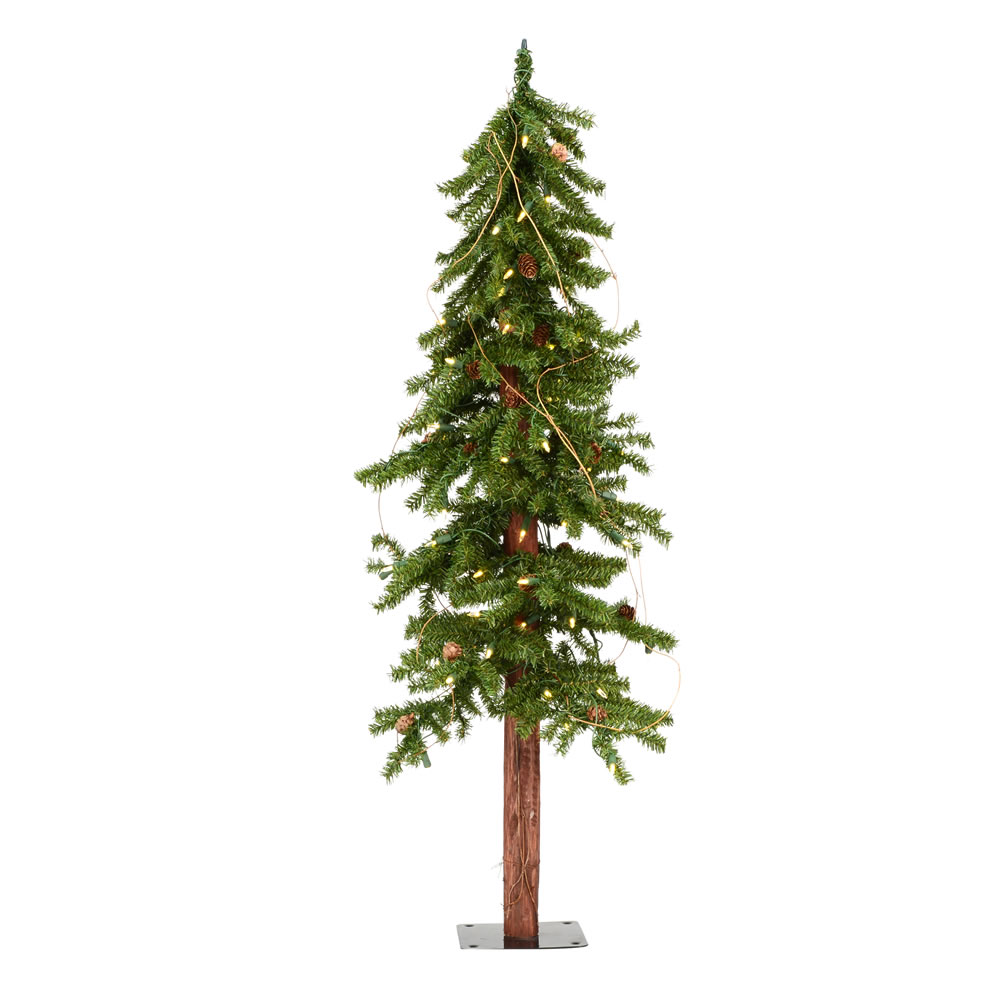 4 Foot Alpine Artificial Christmas Tree 100 DuraLit LED Warm White Mini Lights
