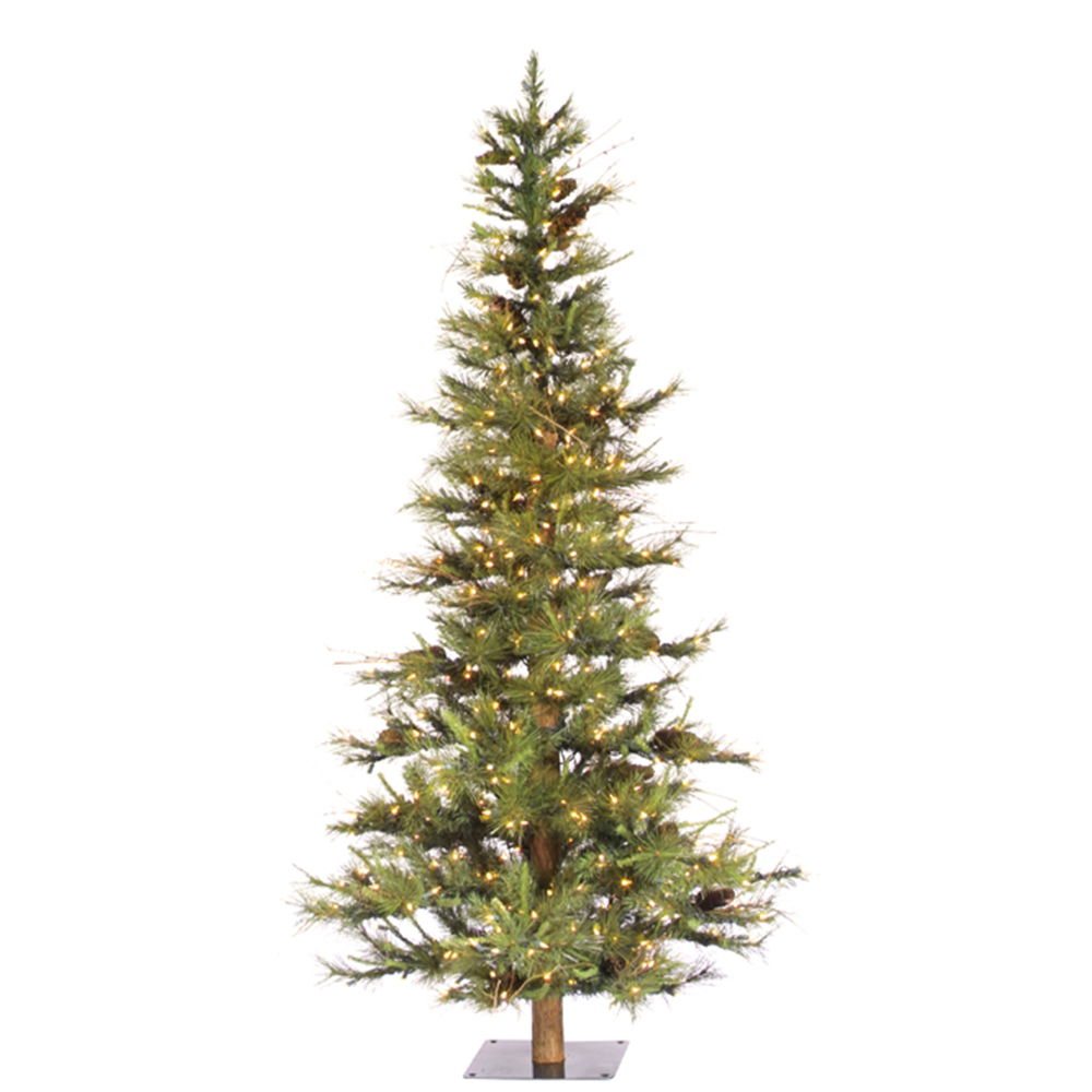 6 Foot Ashland Fir Pine Cone Artificial Christmas Tree 450 DuraLit LED Warm White Mini Lights