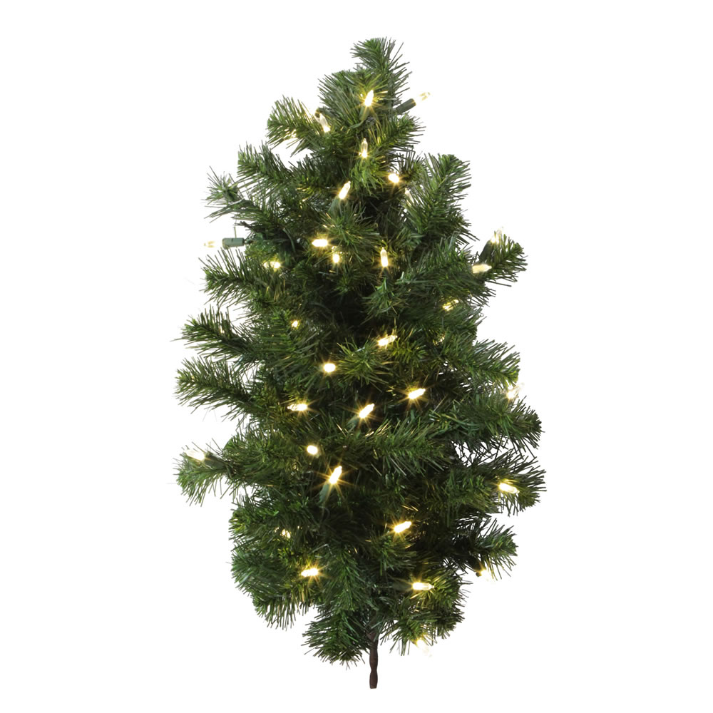 2 Foot Douglas Fir Artificial Christmas Wall Tree 50 DuraLit LED Warm White Italian Style Mini Lights