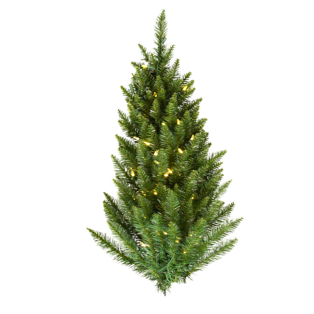 3 Foot Camdon Fir Half Artificial Christmas Wall Tree 50 DuraLit LED Warm White Italian Style Mini Lights