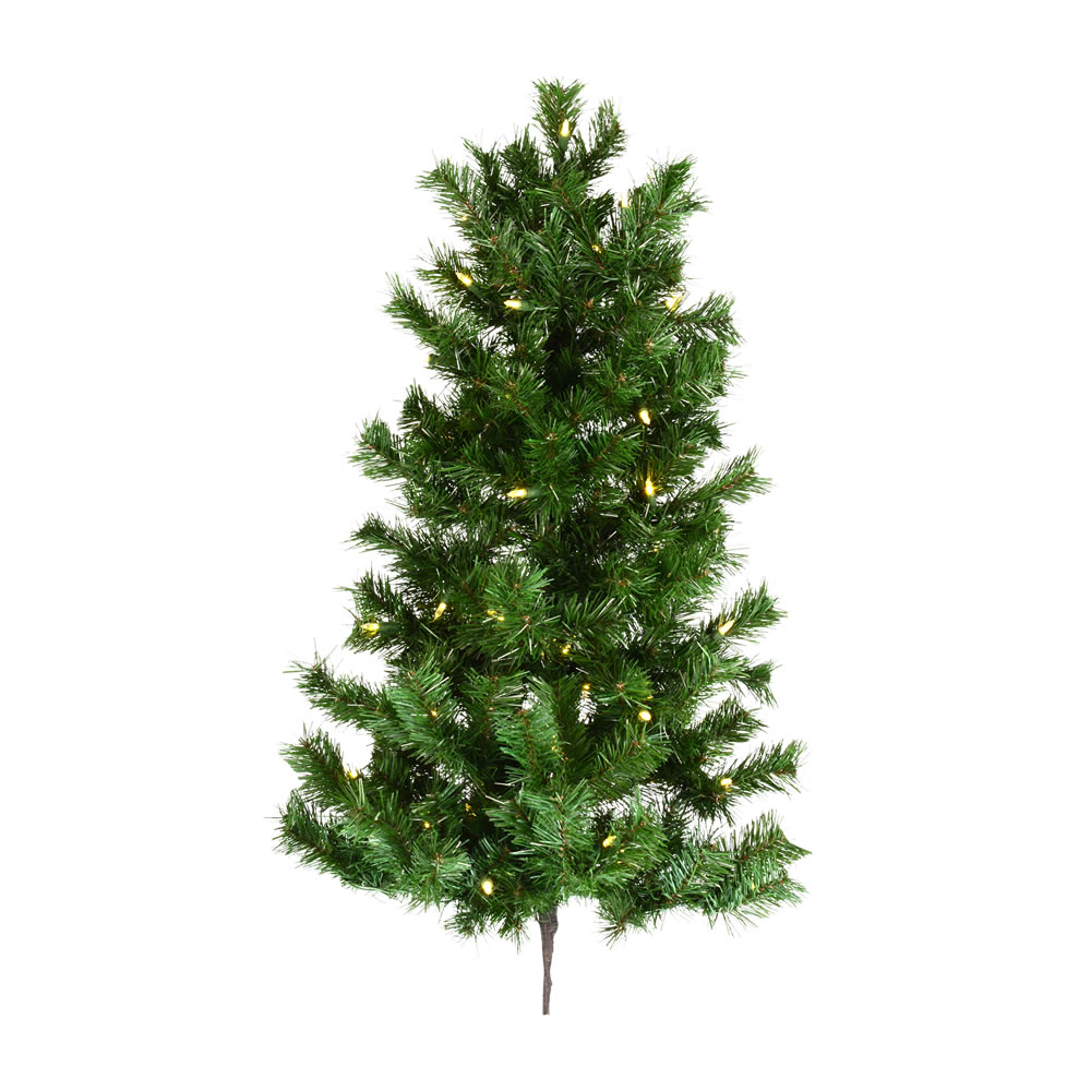 3 Foot Imperial Pine Artificial Christmas Wall Tree 50 DuraLit LED Warm White Italian Style Mini Lights