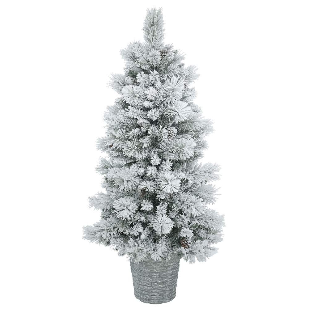 5 Foot Flocked Ashton Pine Artificial Potted Christmas Tree Unlit