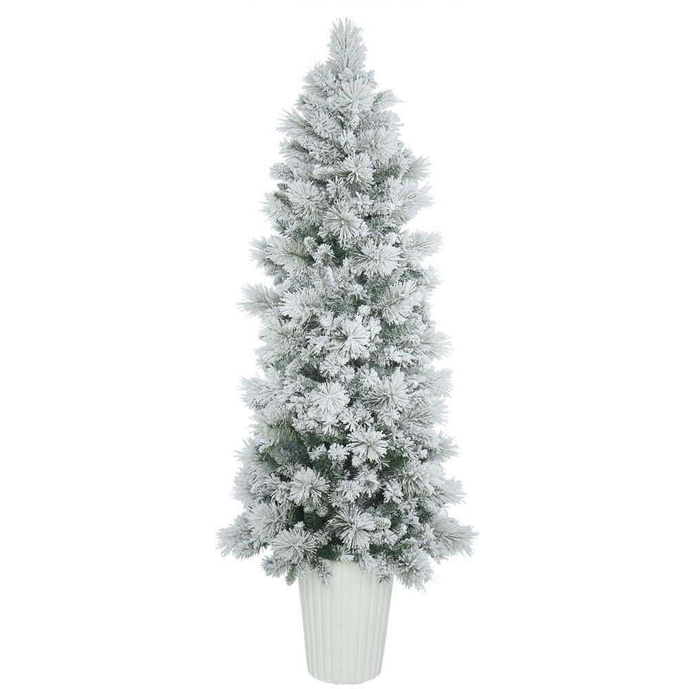 7 Foot Flocked Castle Pine Artificial Potted Christmas Tree Unlit