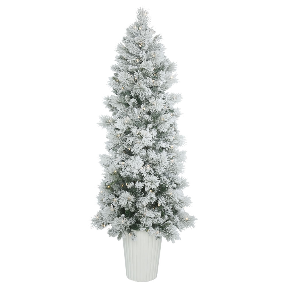 7 Foot Flocked Castle Pine Artificial Potted Christmas Tree 250 DuraLit LED Warm White Italian Style Mini Lights