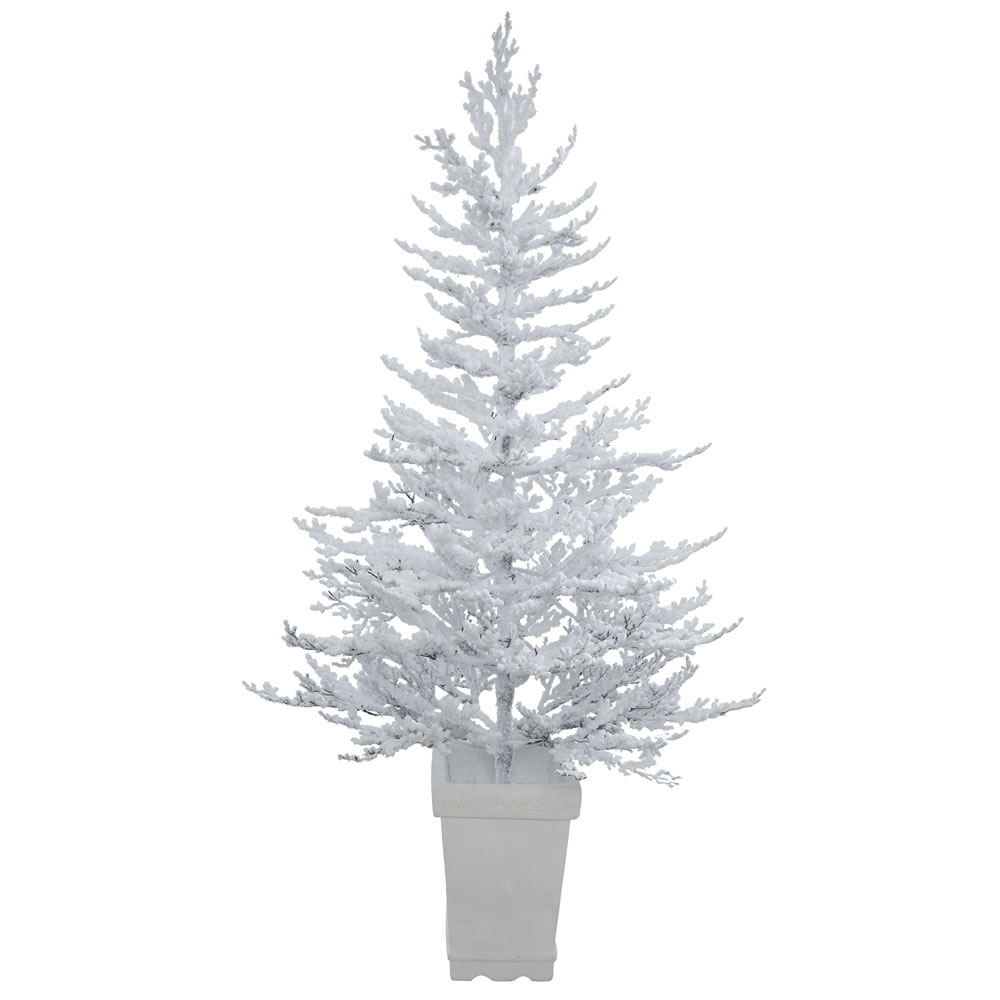 5 Foot Flocked Winter Twig Artificial Potted Christmas Tree Unlit