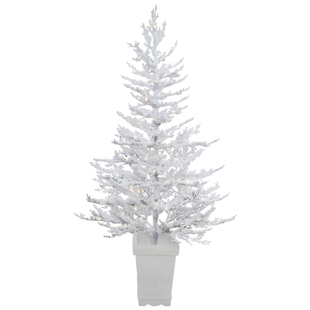 5 Foot Flocked Winter Twig Artificial Potted Christmas Tree 100 DuraLit LED Warm White Italian Style Mini Lights