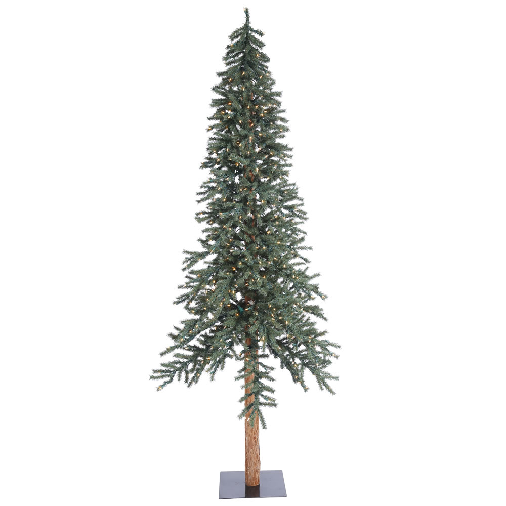 8 Foot Natural Bark Alpine Artificial Christmas Tree 400 DuraLit LED Warm White Italian Mini Lights