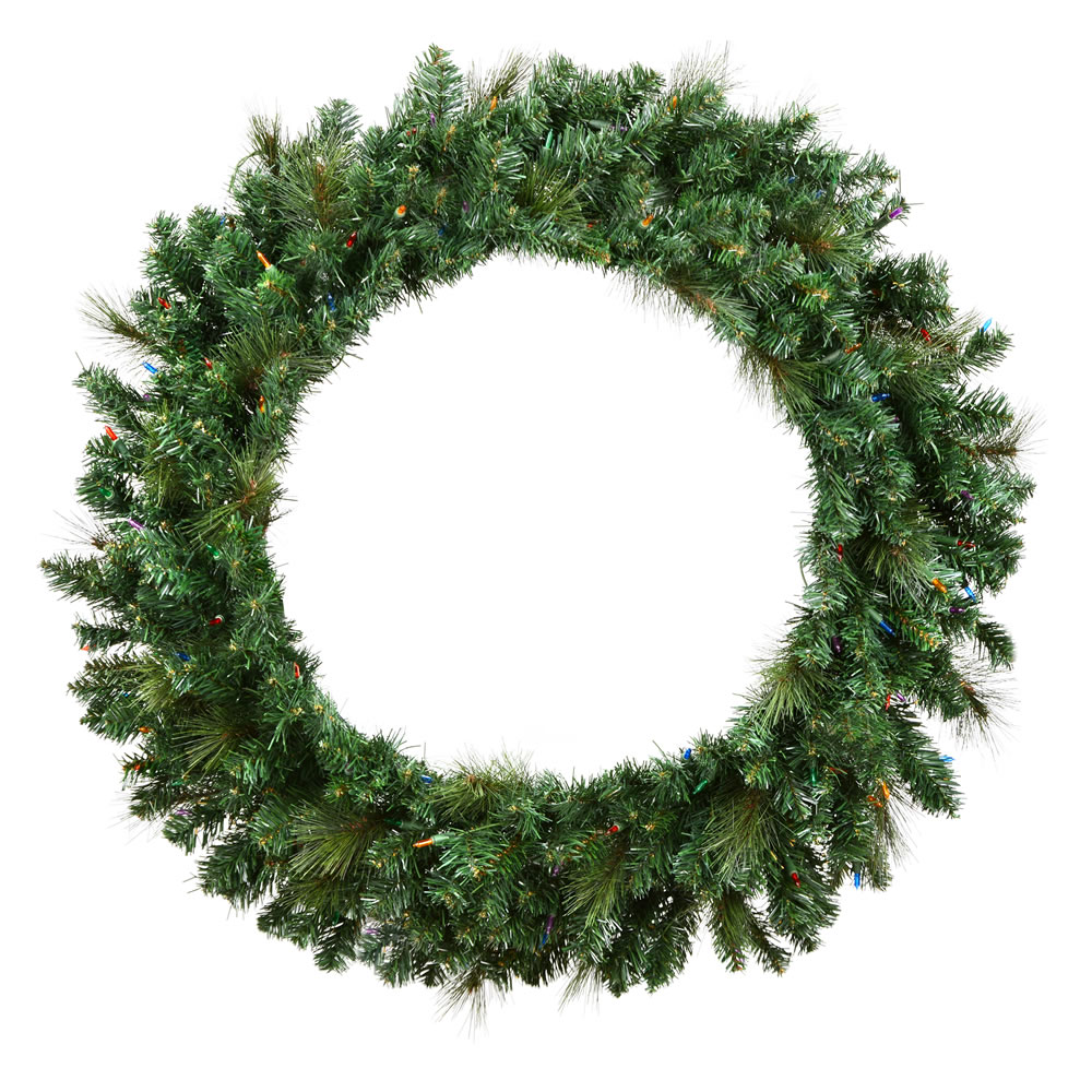 6 Foot Mixed Brussels Pine Artificial Christmas Wreath Unlit