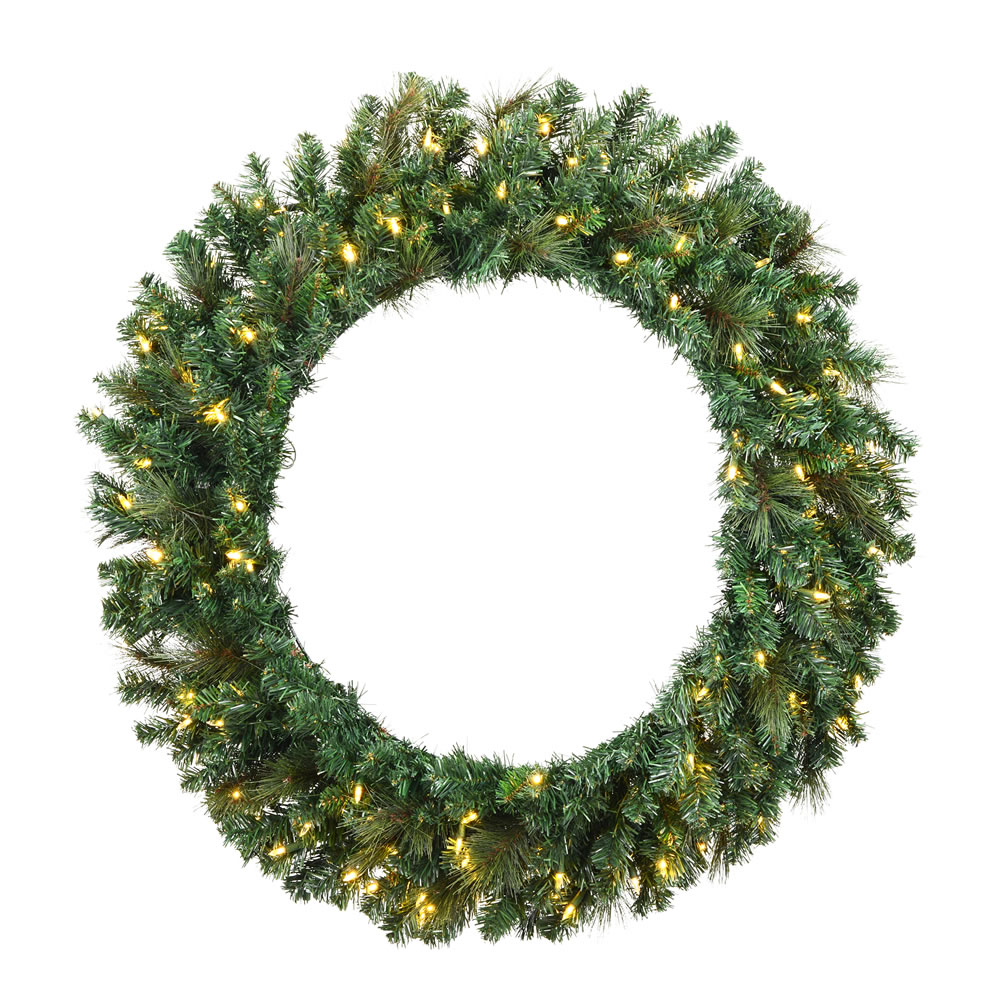 6 Foot Mixed Brussels Pine Artificial Christmas Wreath - 600 DuraLit Incandescent Clear Mini Lights