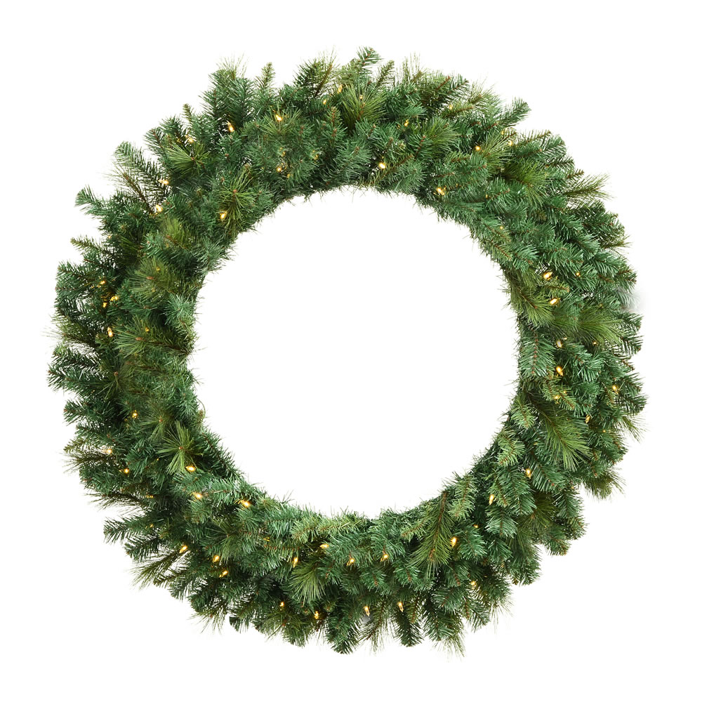 6 Foot Mixed Brussels Pine Artificial Christmas Wreath - 600 DuraLit LED Warm White Mini Lights