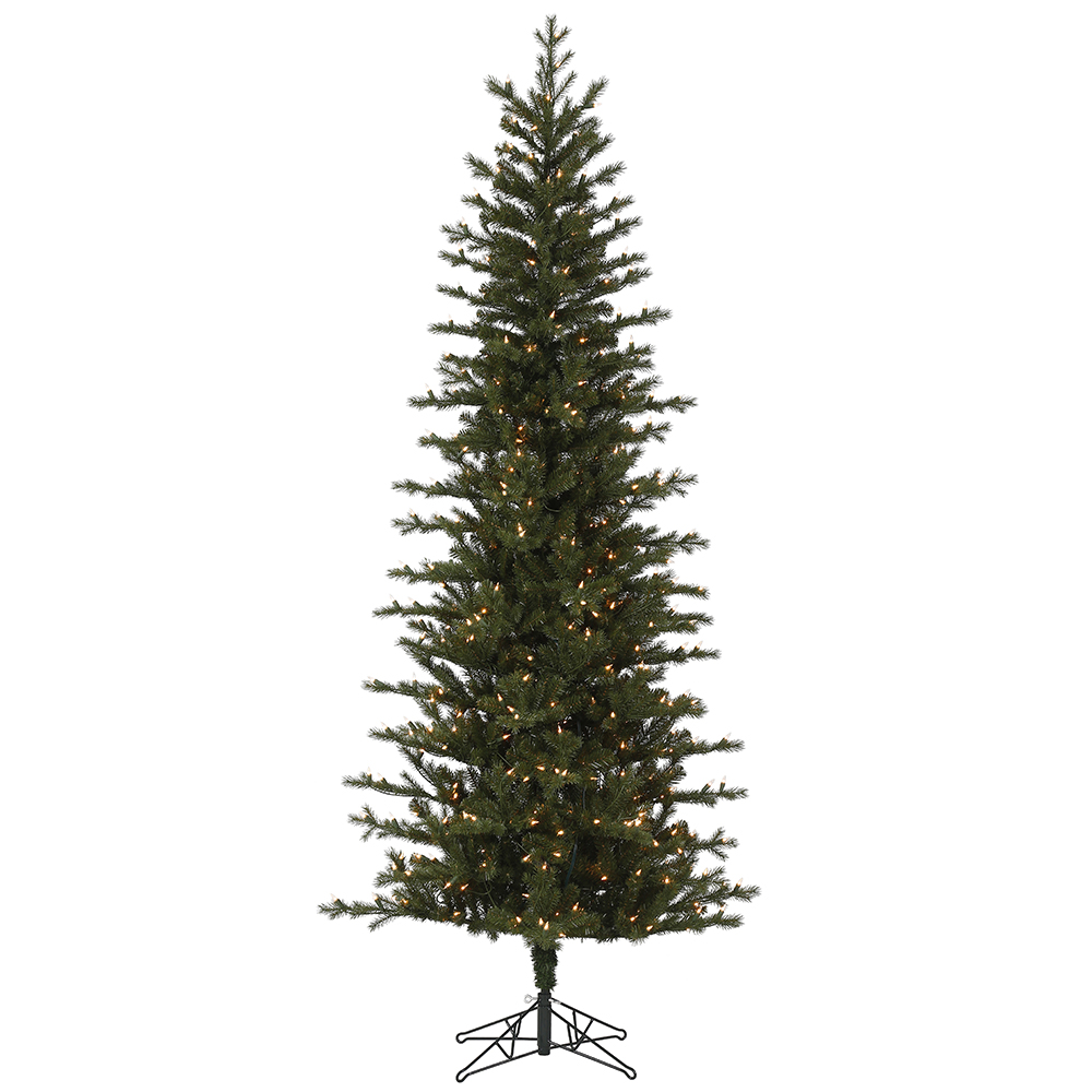4.5 Foot Hillside Pencil Spruce Artificial Christmas Tree - 150 Duralit Incandescent Clear Mini Lights