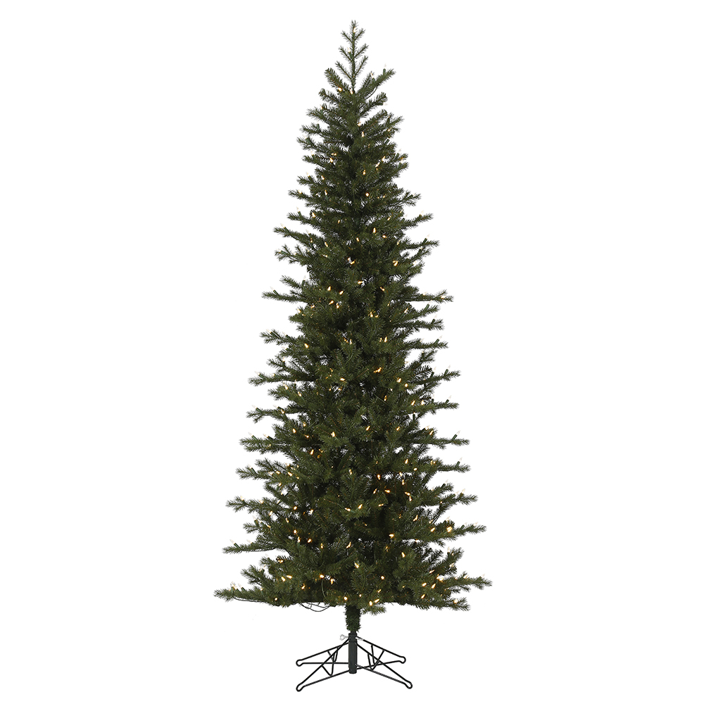 9 Foot Hillside Pencil Spruce Artificial Christmas Tree - 600 Duralit LED Warm White Mini Lights