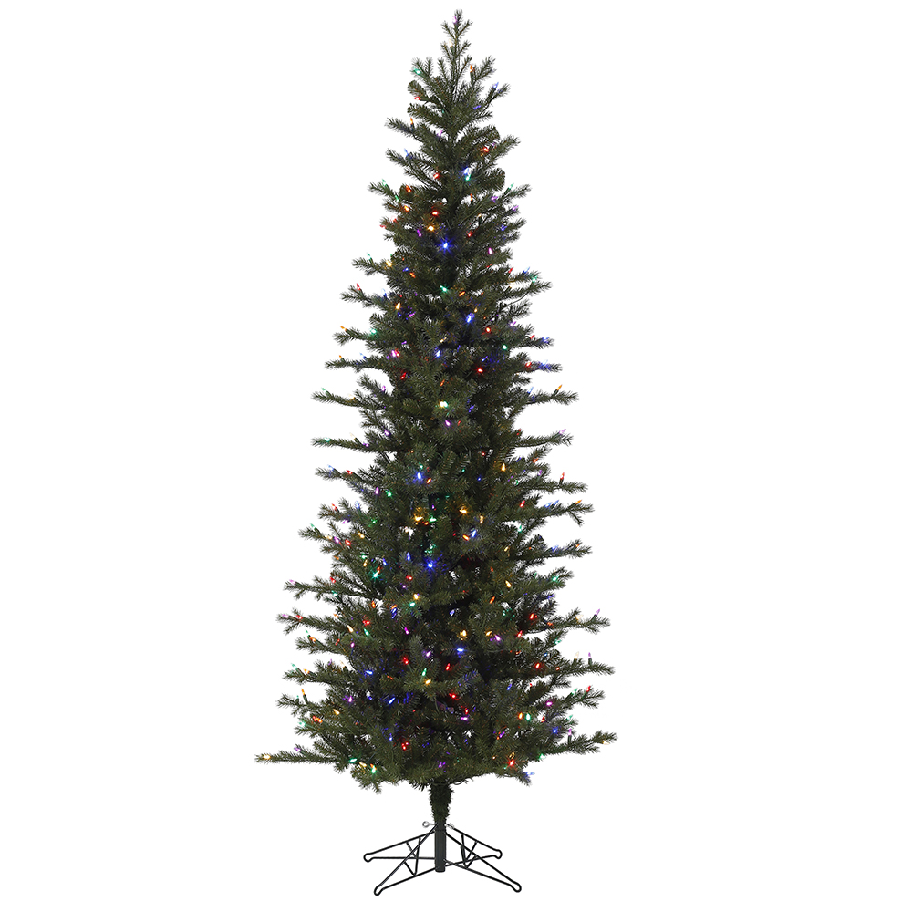 9 Foot Hillside Pencil Spruce Artificial Christmas Tree - 600 Duralit LED Multi Color Mini Lights