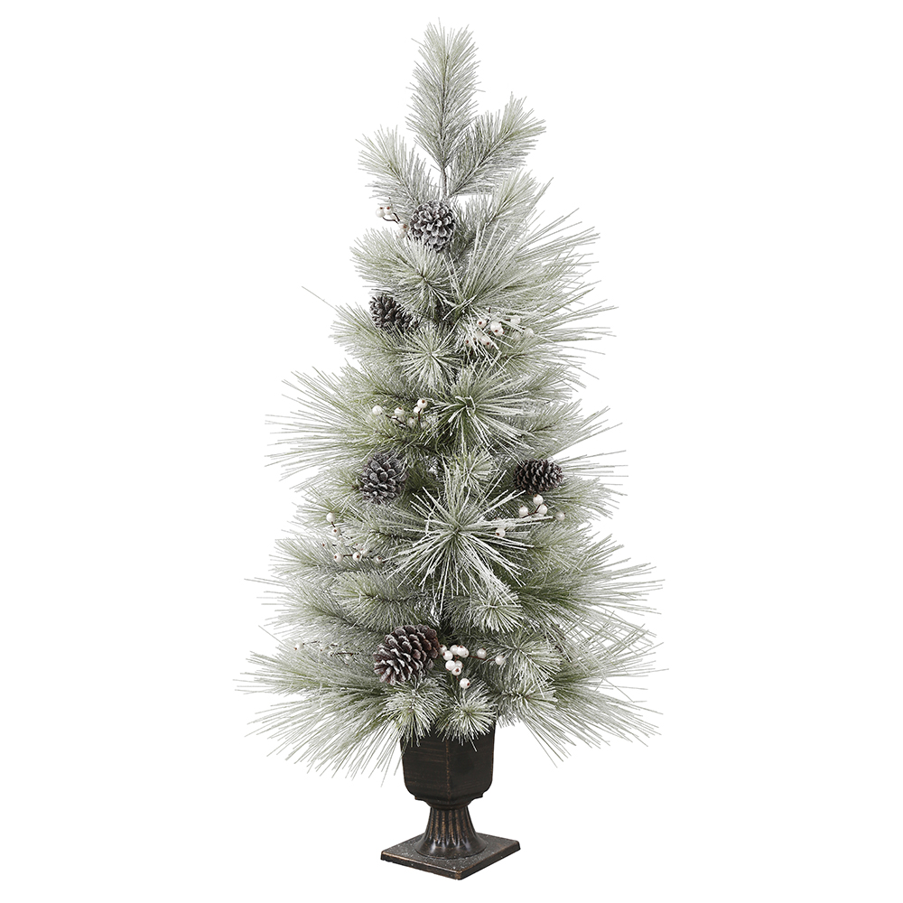 4 foot flocked troy artificial potted christmas tree unlit - Potted Artificial Christmas Trees