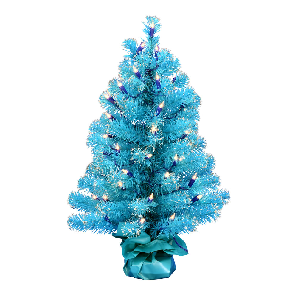 2 Foot Sky Blue Tinsel Tabletop Artificial Christmas Tree 50 DuraLit Incandescent Clear Mini Lights