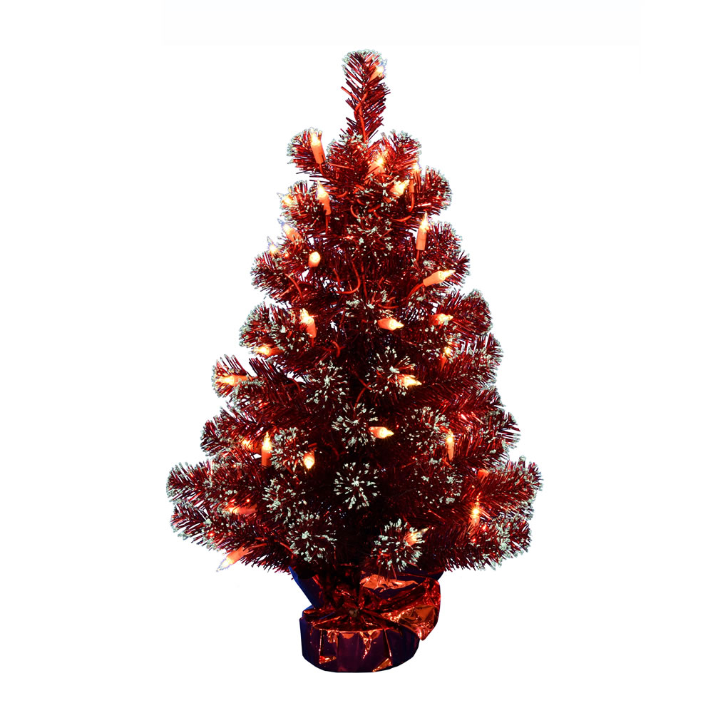 2 Foot Dark Red Tinsel Tabletop Artificial Christmas Tree 50 DuraLit Incandescent Clear Mini Lights
