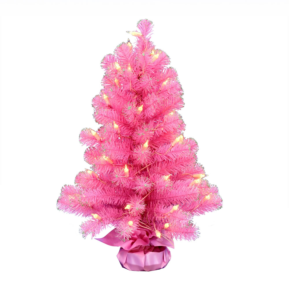 2 Foot Pink Tinsel Tabletop Artificial Christmas Tree 50 DuraLit Incandescent Clear Mini Lights