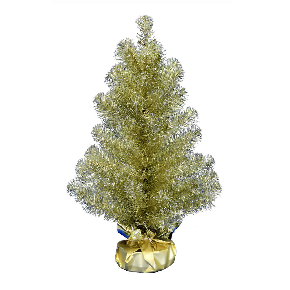 2 Foot Champagne Tinsel Tabletop Artificial Christmas Tree Unlit