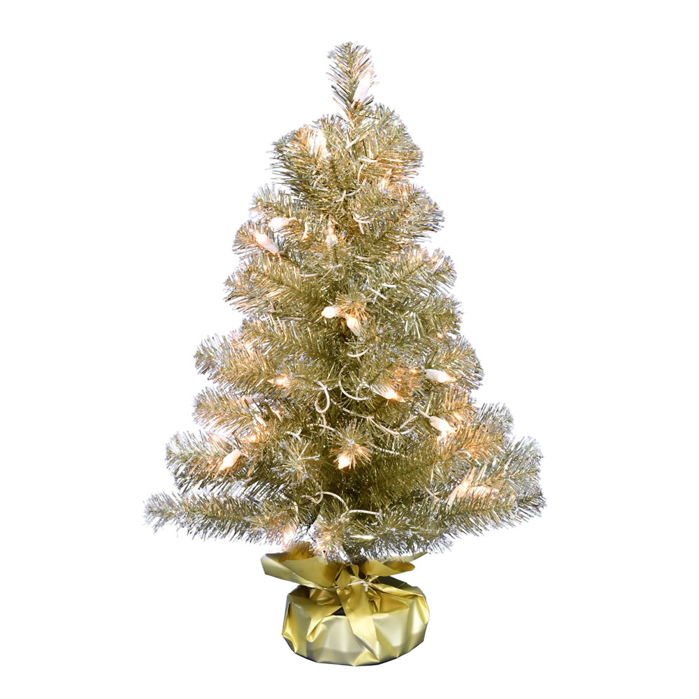 2 Foot Champagne Tinsel Tabletop Artificial Christmas Tree 50 DuraLit Incandescent Clear Mini Lights