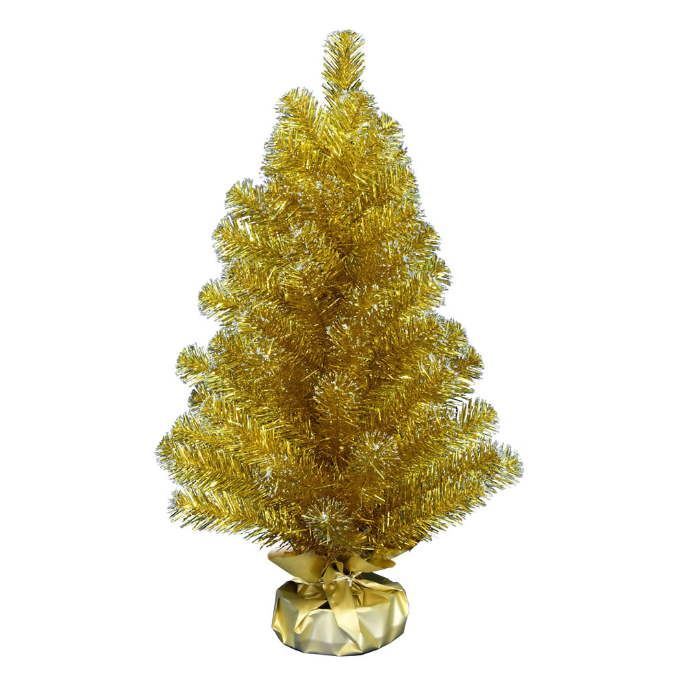 2 Foot Gold Tinsel Tabletop Artificial Christmas Tree Unlit