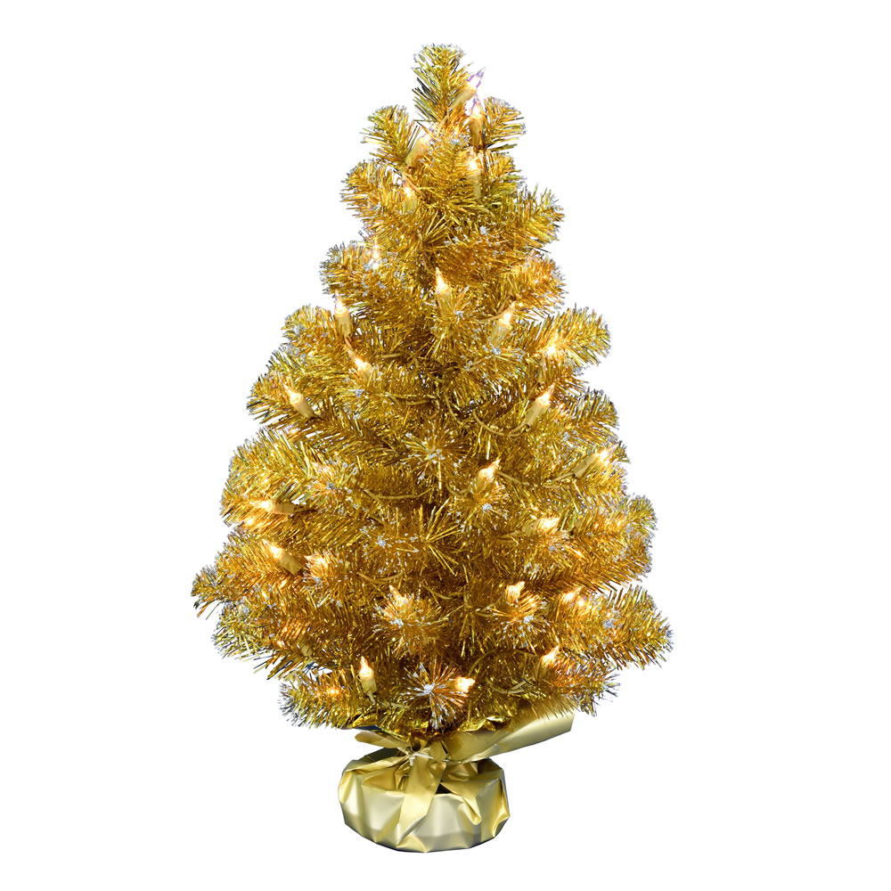 2 Foot Gold Tinsel Tabletop Artificial Christmas Tree 50 DuraLit Incandescent Clear Mini Lights