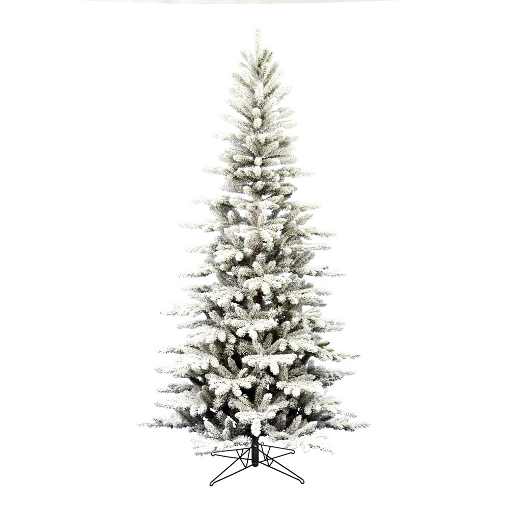12 Foot Flocked Stratton Pine Artificial Christmas Tree Unlit