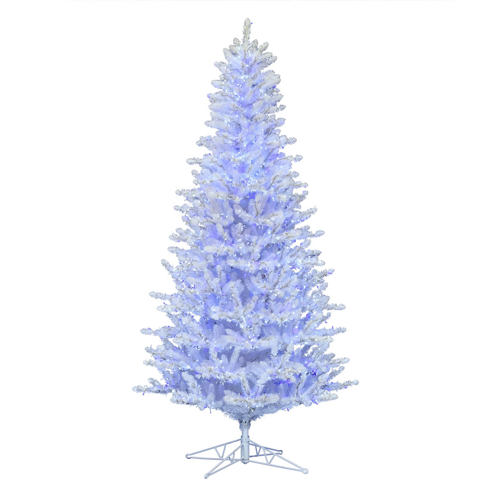 14 Foot Shiny White Spruce Artificial Christmas Tree - 7500 Low Voltage LED Pure White, Blue and Twinkle 3MM Lights