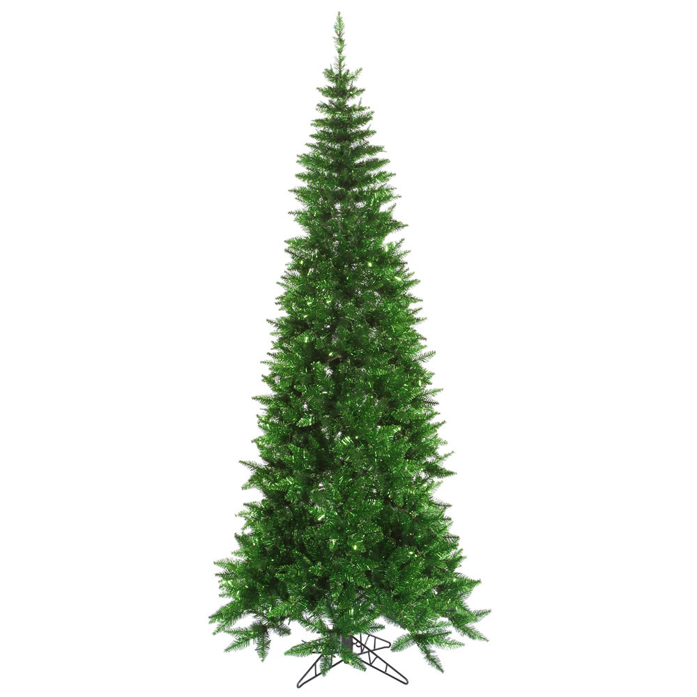 7.5 Foot Tinsel Green Slim Fir Artificial Christmas Tree Unlit