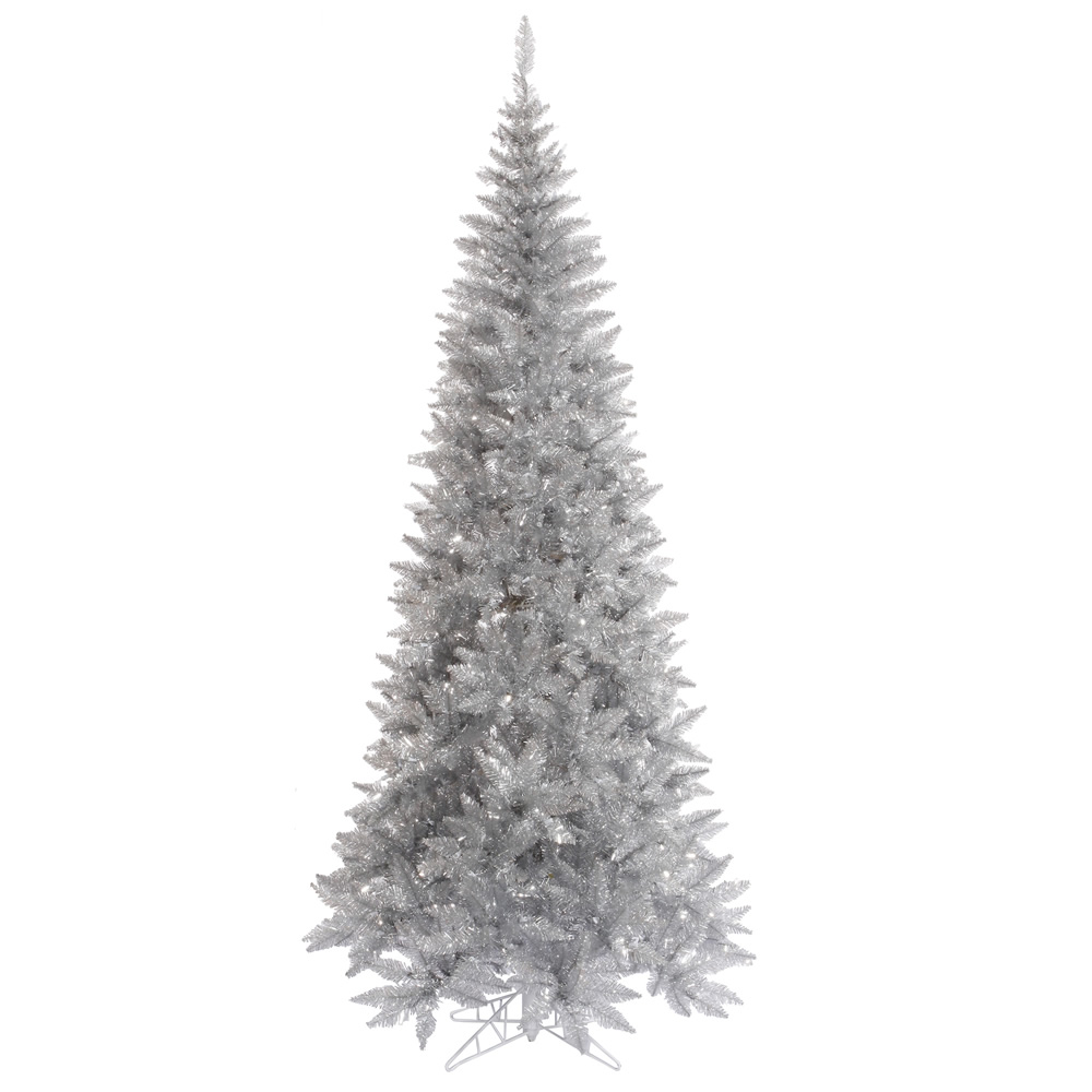 10 Foot Tinsel Silver Slim Fir Artificial Christmas Tree Unlit