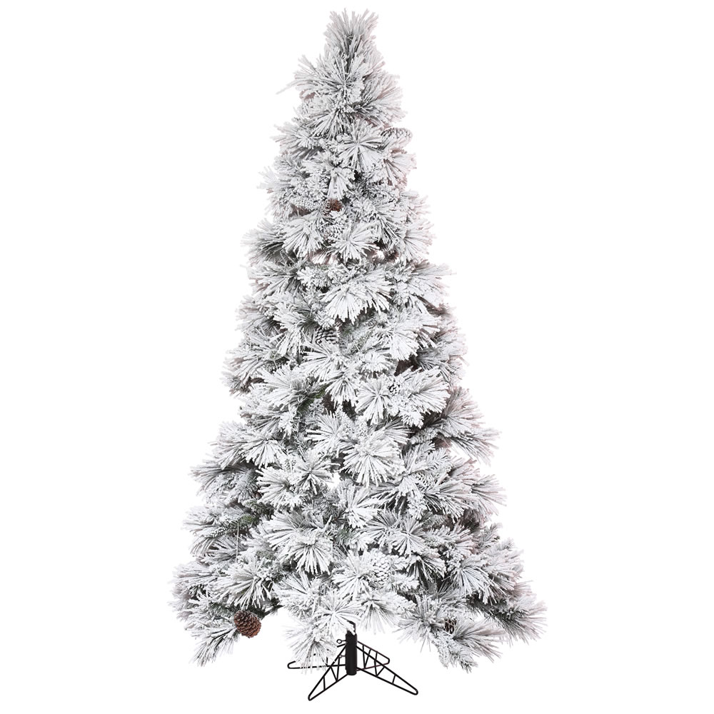 10 Foot Flocked Atka Pine Slim Artificial Christmas Tree Unlit