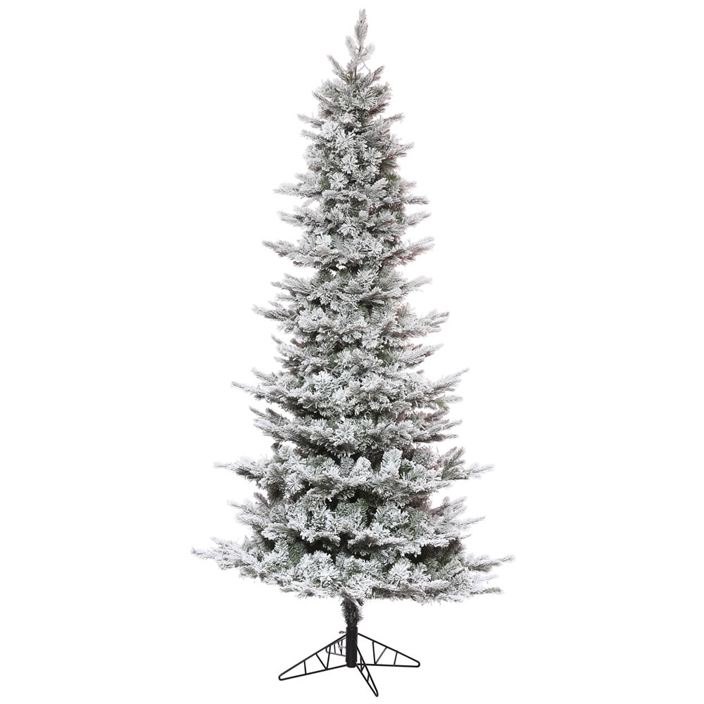 12 Foot Flocked Kiana Pine Slim Artificial Christmas Tree Unlit