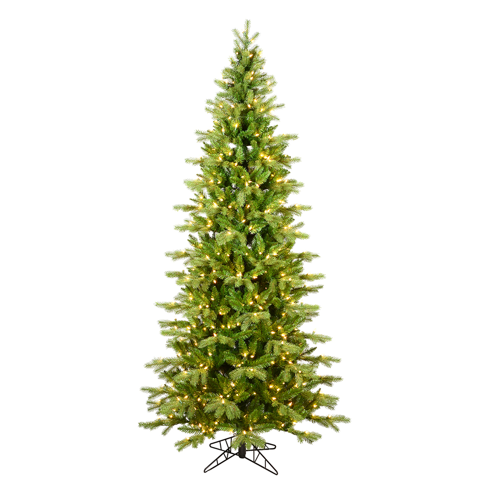 7.5 Foot Balsam Spruce Slim Artificial Christmas Tree 450 DuraLit Incandescent Clear Mini Lights