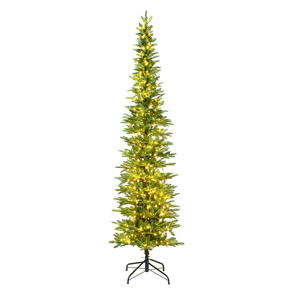 7.5 Foot Compton Pole Pine Artificial Christmas Tree 300 DuraLit LED M5 Italian Warm White Mini Lights