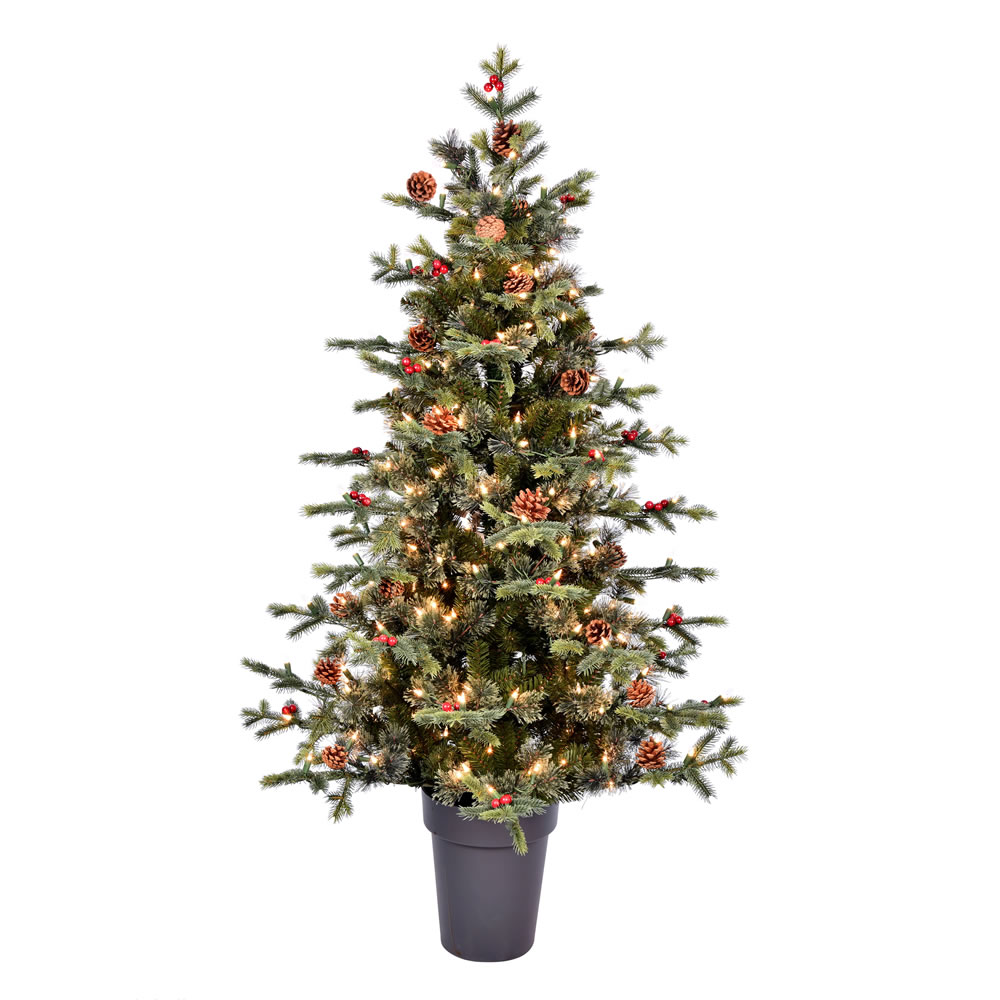 5 Foot Timberline Pine Potted Artificial Christmas Tree - 250 Duralit Incandescent Clear Mini Lights