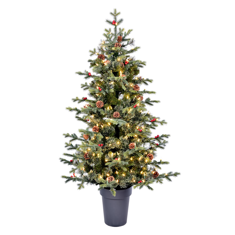 5 Foot Timberline Pine Potted Artificial Christmas Tree - 250 Duralit LED Warm White Mini Lights