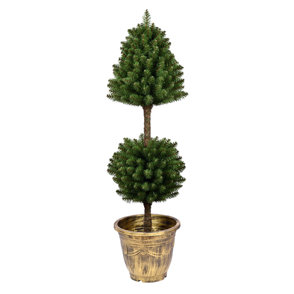 4 Foot Tifton Two Ball Potted Topiary Artificial Tree Unlit