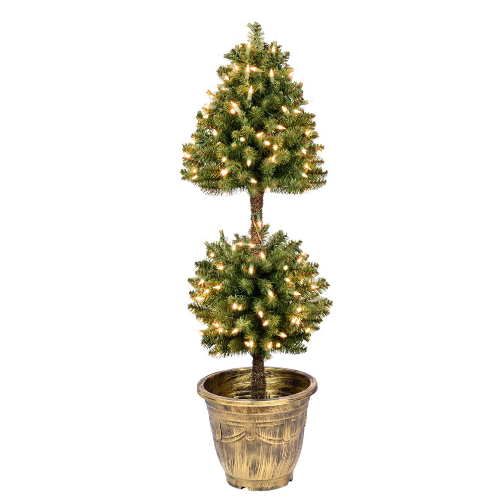 4 Foot Tifton Two Ball Potted Topiary Artificial Tree - 200 Duralit Incandescent Clear Mini Lights