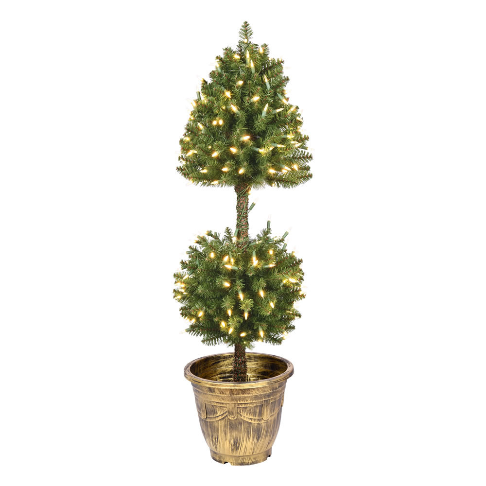 4 Foot Tifton Two Ball Potted Topiary Artificial Tree - 200 Duralit LED Warm White Mini Lights