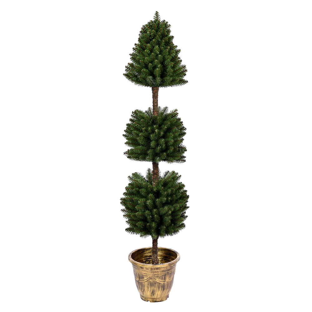 5 Foot Tifton 3 Ball Potted Topiary Artificial Tree Unlit