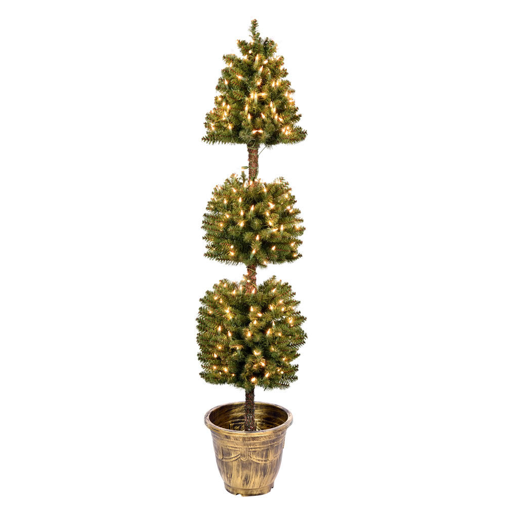5 Foot Tifton 3 Ball Potted Topiary Artificial Tree - 300 Duralit Incandescent Clear Mini Lights