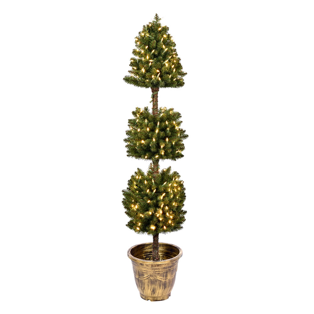 5 Foot Tifton 3 Ball Potted Topiary Artificial Tree - 300 Duralit LED Warm White Mini Lights