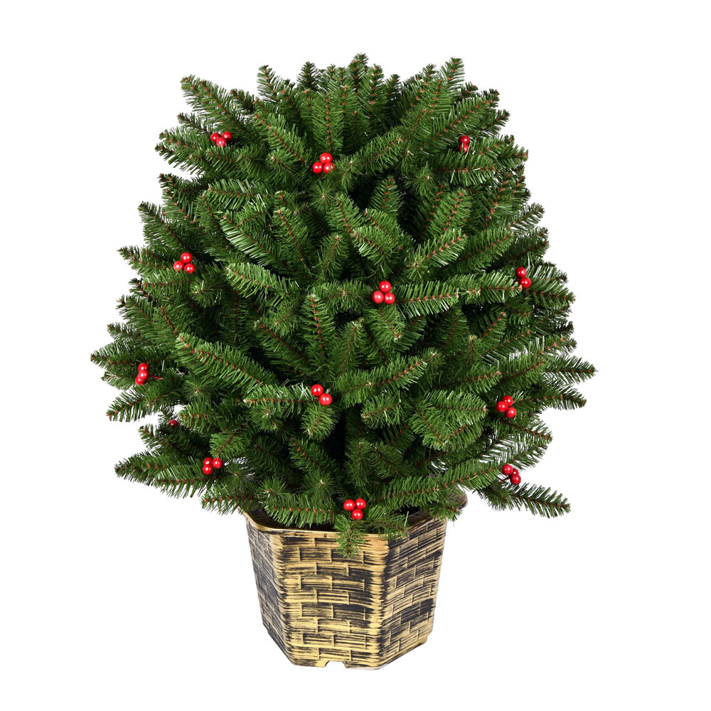 3.5 Foot Potted Tifton Globe Artificial Christmas Tree Unlit