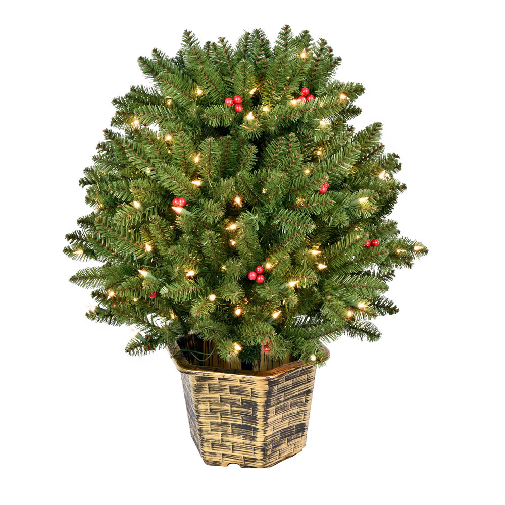 3.5 Foot Tifton Potted Globe Artificial Christmas Tree - 150 DuraLit Incandescent Clear Mini Lights