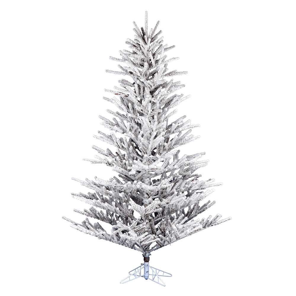 7.5 Foot Flocked Stick Pine Artificial Christmas Tree Unlit