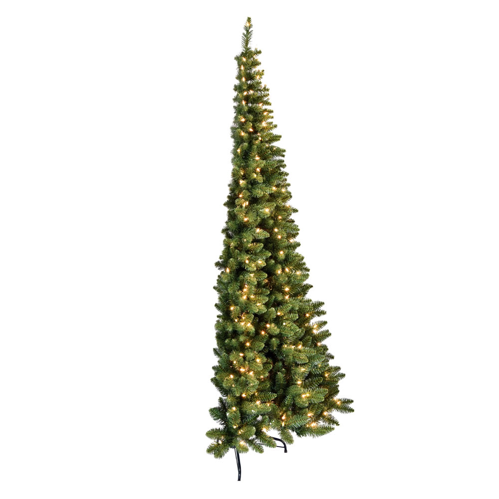 9 Foot Chapel Pine Half Artificial Christmas Tree 650 DuraLit Incandescent Clear Mini Lights